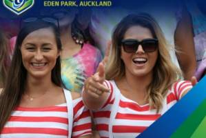 Teagan Voykovich, right, and a friend were the faces of the NRL Auckland Nines singles zone.