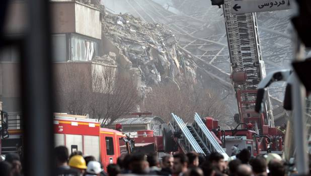 The collapsed Plasco building after it was engulfed by fire.