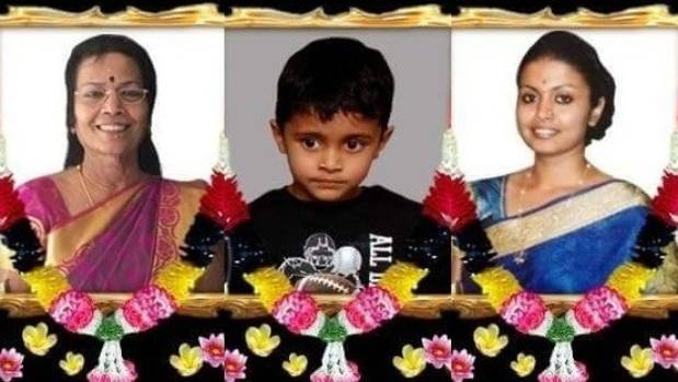 From left: Umadhevi Theiventhiran (65), Bareth Kailesh (5), and Bhamini Theiventhiran (39) all died in the house fire.