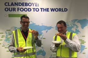 Fonterra's South Island general manager Tim Keir and Clandeboye's site manager Steve Mcknight about to tuck into some ...