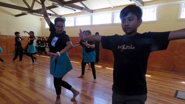 Dancers at the Sri Lankan Dance Academy rehearse for  their performance at the Little Theatre in Lower Hutt.