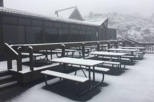 Whakapapa skifield under a dusting of summer snow.