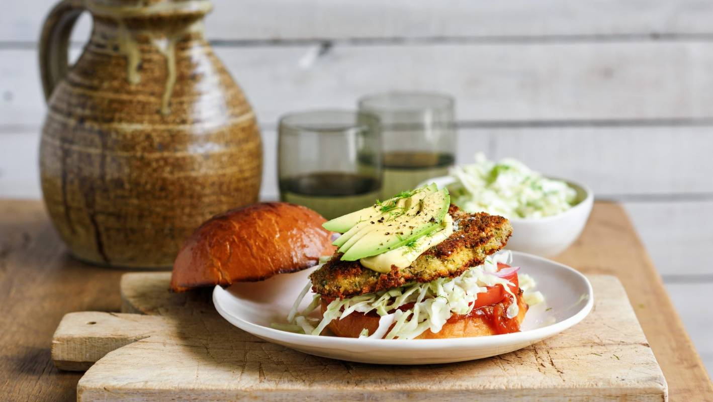 Recipes Herb Parmesan Crumbed Chicken Burgers Fennel Slaw Stuff Co Nz