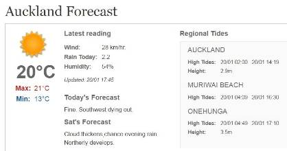 Cloud and rain are expected in Auckland on Saturday.
