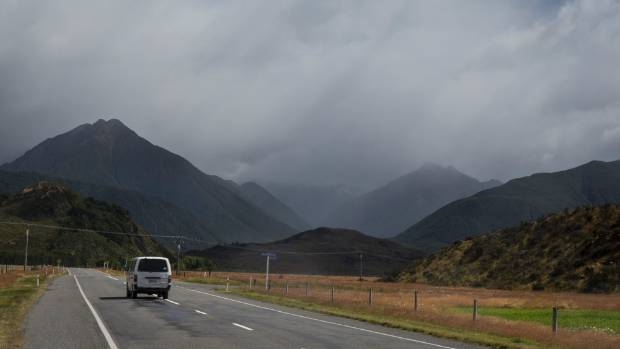 Rain clouds gather over Arthur's Pass from State Highway 73 on Wednesday.