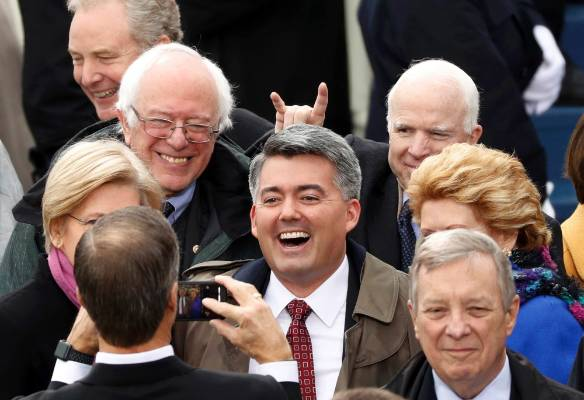 Senators including John McCain and Bernie Sanders arrive for the inauguration ceremonies to swear in Donald Trump as the ...