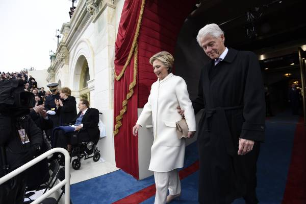 Former U.S. President Bill Clinton and First Lady Hillary Clinton arrive for the Presidential Inauguration of Trump at ...