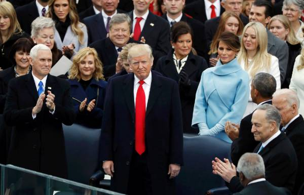 Donald Trump receives applause during his inauguration ceremonies to be sworn in as the 45th president of the United ...