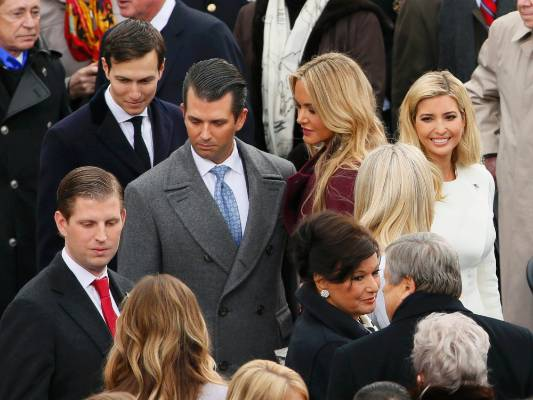Ivanka Trump (R) arrives with her husband Jared Kushner (L) and brothers Donald Trump Jr.and Eric Trump, during ...