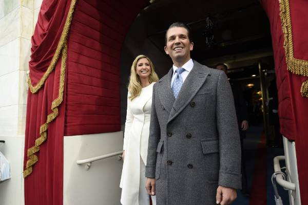Donald Trump, Jr., and Ivanka Trump arrive for the Presidential Inauguration of Trump at the U.S. Capitol in Washington, ...