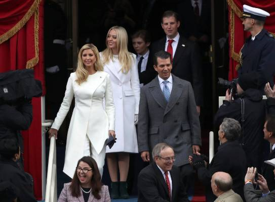 (L-R) Ivanka Trump, Tiffany Trump, Barron Trump, Eric Trump and Donald Trump Jr. arrive for the presidential ...