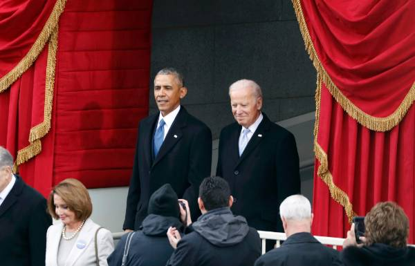US President Barack Obama and Vice President Joe Biden attend the inauguration ceremonies to swear in Donald Trump as ...