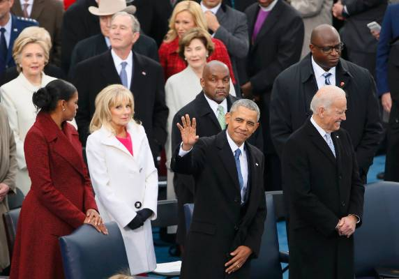 President Obama waves at the inauguration ceremonies swearing in Donald Trump as the 45th president of the United States ...