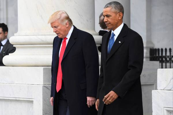 President Donald Trump and former President Barack Obama leave the Capitol building after the inauguration ceremony.