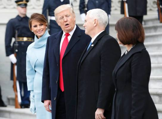 First Lady Melania Trump, United States President Donald Trump, Vice President Mike Pence and Karen Pence.