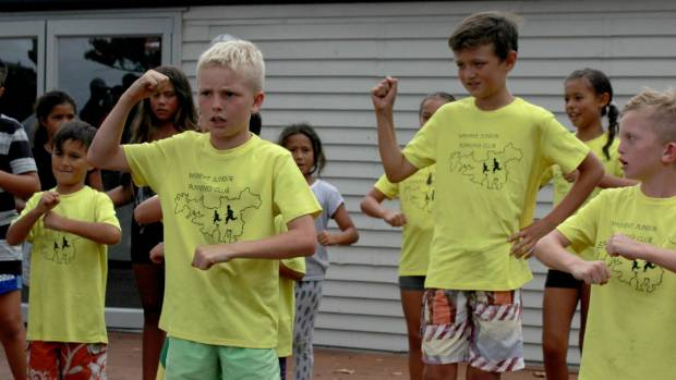Waiheke youngsters surprised the couple with a haka after the ceremony.