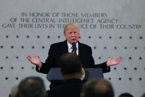 US President Donald Trump throws his support behind the Central Intelligence Agency (CIA).