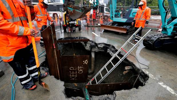 The large cavity, caused by a broken water pipe, was discovered under Featherston St in central Wellington in January.