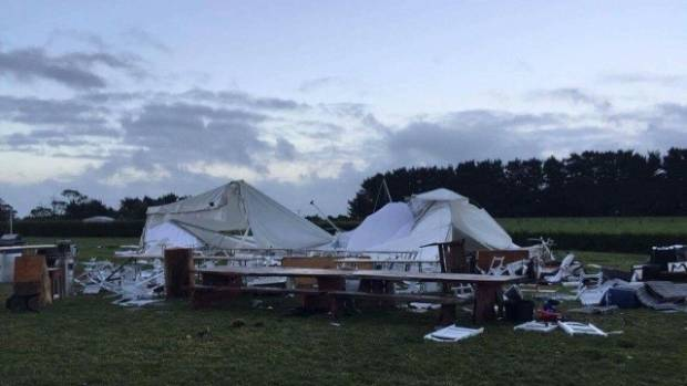 Gusts of 120k wind ripped apart an after-party marquee in South Taranaki.