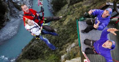 Backwards, forwards, sitting down or standing up; these are the choices jumpers have to make at the Shotover Canyon Swing.