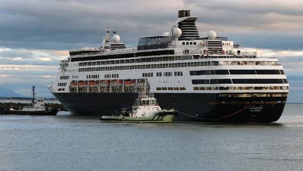 The cruise ship Maasdam arrives at the port of Timaru early on Monday morning.