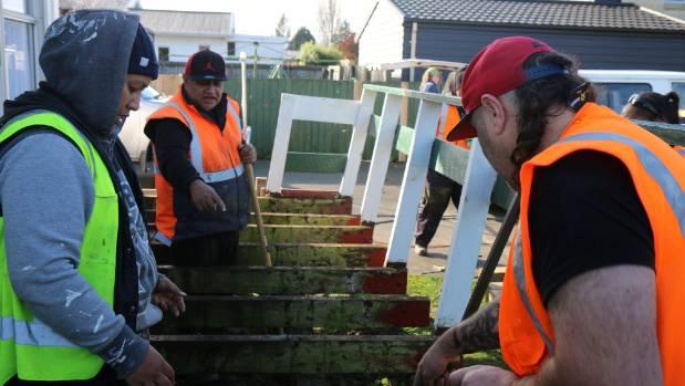 He Toki He Toki civil skills students help rebuild a deck at the Spreydon Methodist Church.