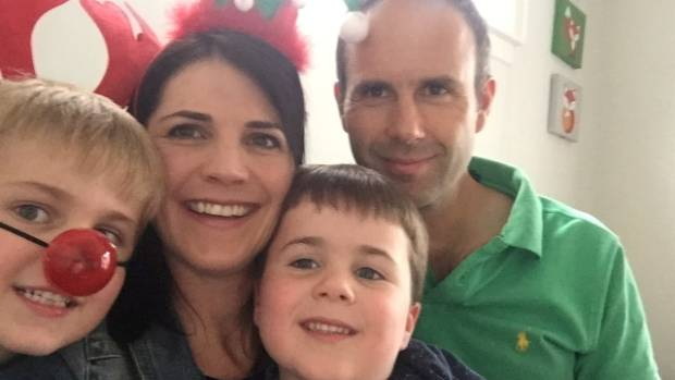 Caroline Gray - pictured with sons James and Benji and husband Haydn - said hassles with Jetstar were the last thing she ...