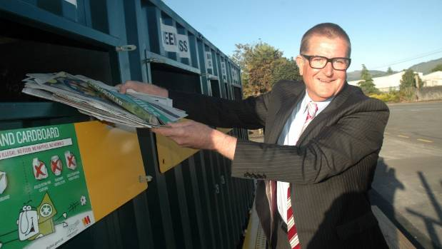 Upper Hutt Mayor Wayne Guppy at the opening of the city's new recycling drop-off station in January.