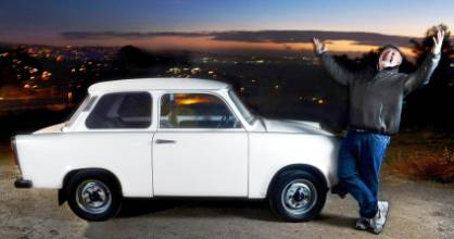 Josef Cikmantory celebrates his Trabant on a hill in Yorba Linda that overlooks Orange County.