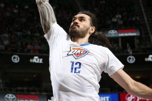 Steven Adams goes up for a dunk in the Thunder's dramatic victory against the Utah Jazz.