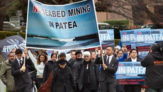 Ngati Ruanui, one iwi whose territory TTR has applied to mine iron sand in, protested at parliament in late 2016.