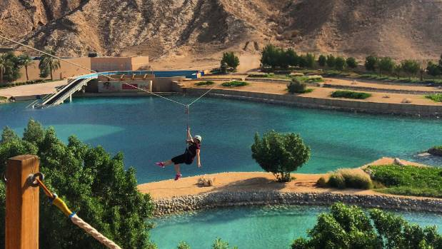 Ziplining in Al Ain.