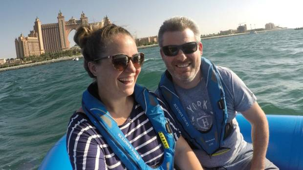 Sarah Chant and her partner Nathanon a tour around the Palm in Dubai (with the Atlantis in the background).