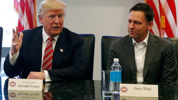 Peter Thiel with US President Donald Trump, whose campaign he donated money to.