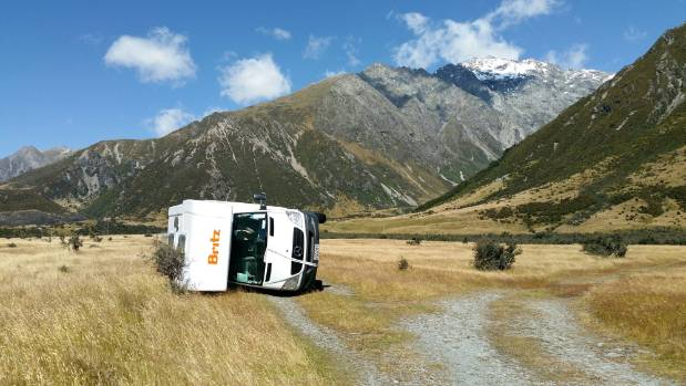 Strong Winds Cause Havoc In Aoraki Mt Cook As Campervan
