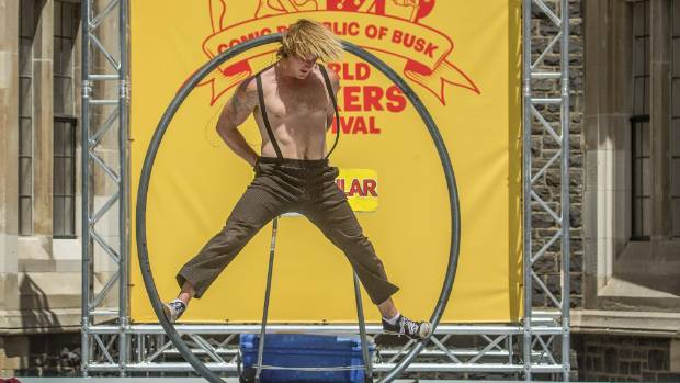 Kiwi street performer ZakTacular is one of dozens of buskers to return to the north quad of the Christchurch Arts Centre ...