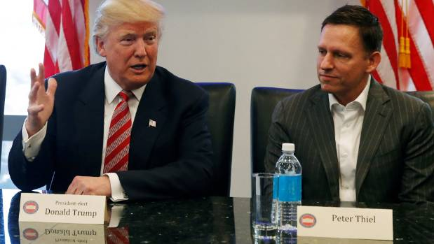Thiel (right) with US President Donald Trump earlier this year.