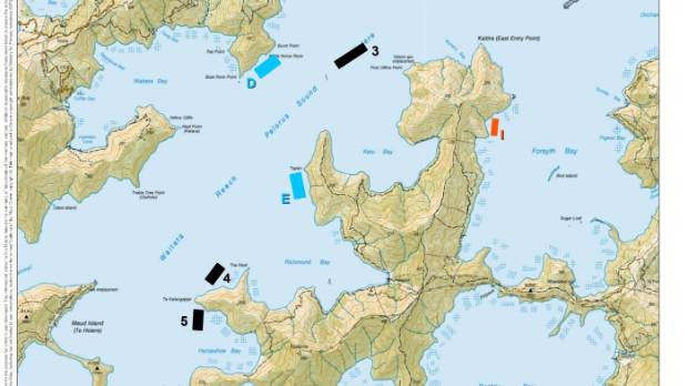 Some proposed new sites in the Pelorus Sound area.
