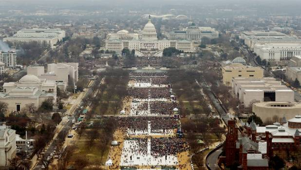 A view of the crowd on the National Mall at the inauguration of President Donald Trump, shot from the top of the ...