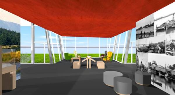 An upstairs lounge in the mezzanine area of Te Awahou Nieuwe Stroom, in Foxton, which should be complete by spring 2017.