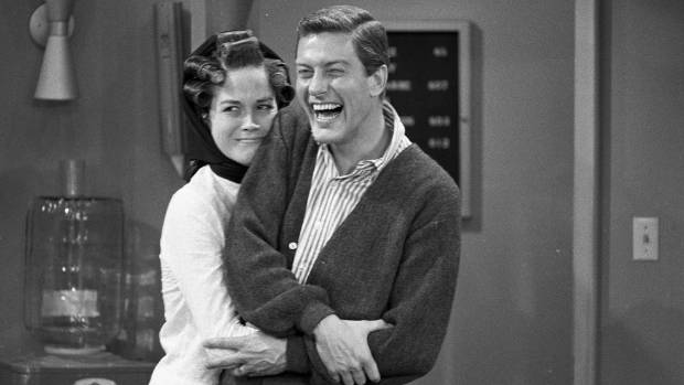 Dick Van Dyke with co-star Mary Tyler Moore in rehearsal for The Dick Van Dyke Show, 1963.