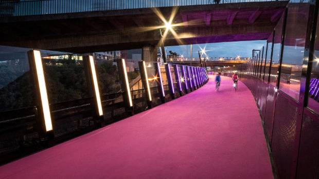 The Nelson St Cycleway in Auckland is painted hot pink, and its LED mood lighting system.