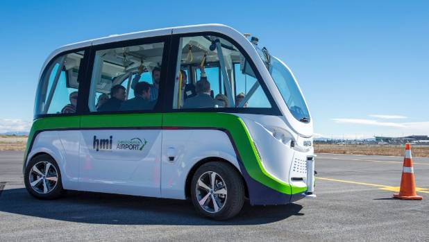 Christchurch Airport held a demonstration of its fully autonomous electric vehicle, the first to be trialled in New Zealand.