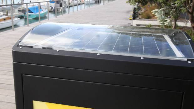 The bins have solar panels built in.