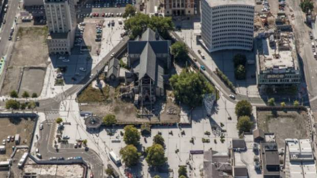 Cathedral Square seen from the air.