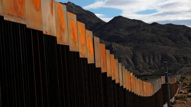 A general view shows a section of the US-Mexico border wall at Sunland Park, US opposite the Mexican border city of ...