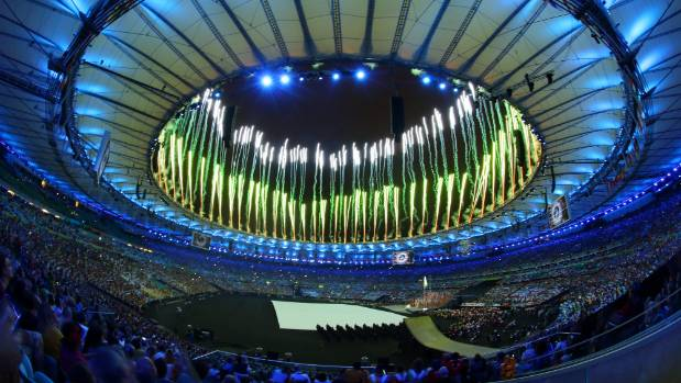 These were better days for the Maracana Stadium .... Fireworks are ignited during the Opening Ceremony of the Rio 2016 ...