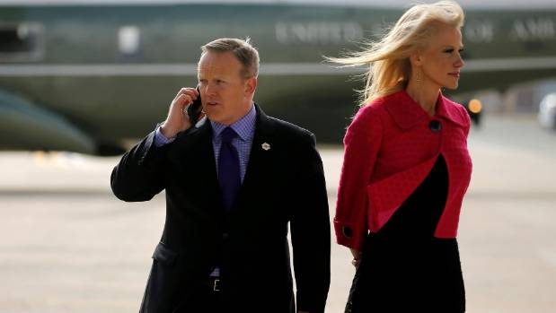 """Falsehoods? Donald Trump's team prefer the term """"alternative facts"""". Sean Spicer, left, and Kellyanne Conway."""