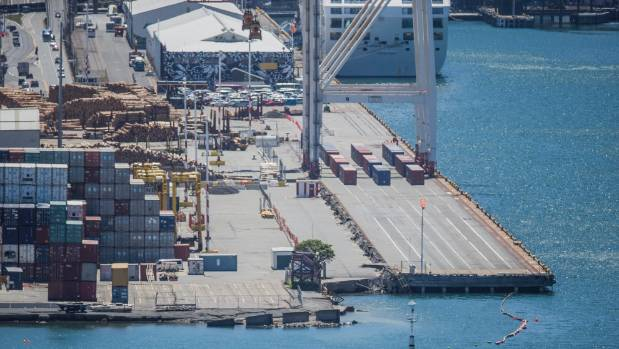 CentrePort container shipping wharf/dock in Wellington received damage after Novembers earthquake.