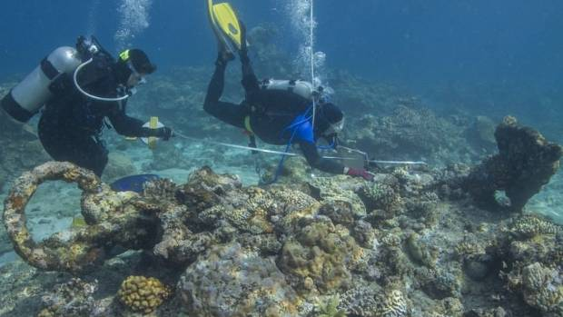 Archaeologists uncovered the remains of four vessels at Kenn Reef, off Queensland